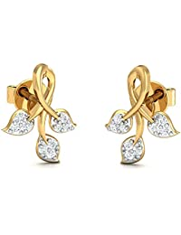 Stylori Impeccable Ferns 18k Yellow Gold and Diamond Drop Earrings