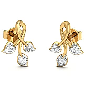 Stylori Impeccable Ferns 18k Yellow Gold and Diamond Drop Earrings for Women