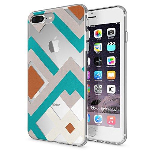 iPhone 8 Plus / 7 Plus Hülle Handyhülle von NICA, Slim Silikon Motiv Case Crystal Schutz Dünn Durchsichtig, Etui Back-Cover Transparent Bumper für Apple iPhone 7+ / 8+ - Transparent Retro Lines