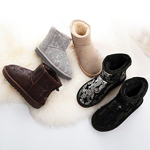 SQIAO-X- In Pelle Di Scarponi Da Neve, A Breve Versione Coreana Di Caldo Inverno Plus In Velluto Di Cotone Stivali Scarpe Uomini E Donne. Nero