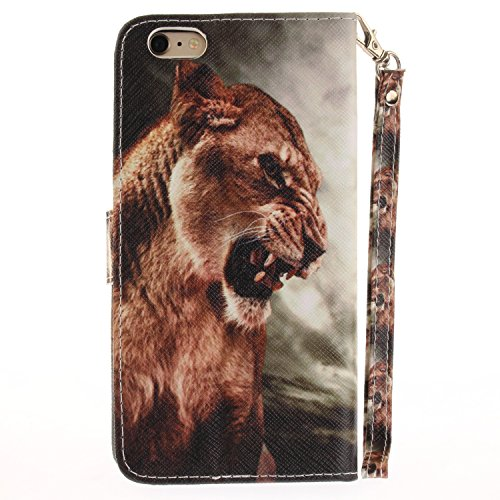 Custodia iphone 6 6S Cover ,COZY HUT Flip Caso in Pelle Premium Portafoglio Custodia per iphone 6 6S, Retro Animali di cartone animato Modello Design Con Cinturino da Polso Magnetico Snap-on Book styl Leone
