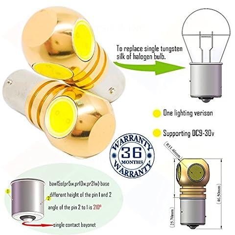 Wiseshine PR5W PR10W PR21W ampoule auto led baw15s PR21W bulbe S25 4 led HP DC9-30v 3 ans d'assurance qualité (pack de 2) baw15s 4 led HP blanc froid
