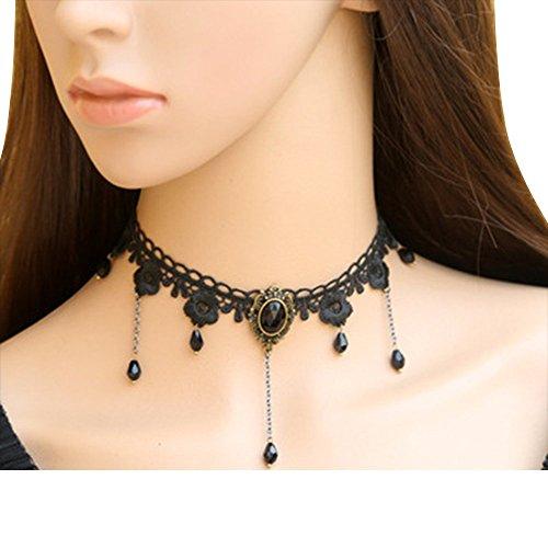 Contever® Gótica Collar Gargantilla Cadena Encaje Negro para Mujer Moda - Estilo 3
