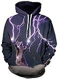 EUDOLAH Herren 3D Druck Sweatshirts Weihnachten mit Aufdruck Herbst Winter Hemd Langarm Top Jumper Shirt (Größe XXL / 3XL, A-Blitz Katze)
