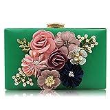 SBL Blume Dinner Bag Perlen Clutch Bag Diamond Bag Perle Abendtasche Party Messenger Bag,Grün,A