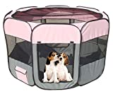 #7: Pet Life All-Terrain' Lightweight Easy Folding Wire-Framed Collapsible Travel Dog Playpen Medium Pink and Grey