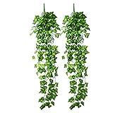 Lvcky 2Stück Fake Leaf Vine Aufhängen Künstliche Girlande Blattwerk Ivy für Weihnachten Hochzeit Party Home Decor 95cm