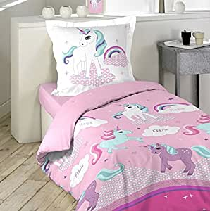 housse de couette enfant taie f erie licorne 140 x 200 rose multicouleur 140 x 200 amazon. Black Bedroom Furniture Sets. Home Design Ideas