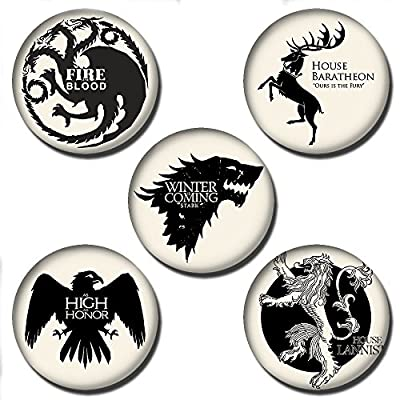 Five 25mm Game of Thrones Button Badges - £2.99 + £1 UK DELIVERY (See buying options)