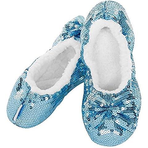 Snoozies–Luce Blu Ballerina non antiscivolo pantofole taglia 3–4