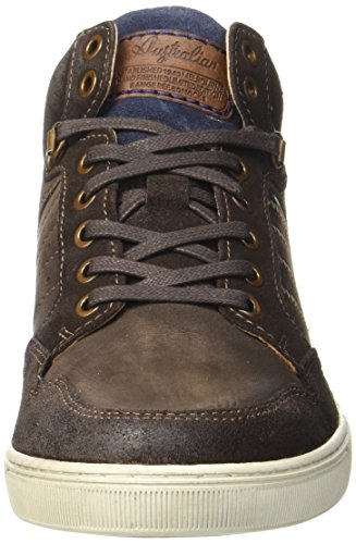 Australian Herren Weatherspoons Leather Hohe Sneaker Braun (Brown-Blue-Off White)