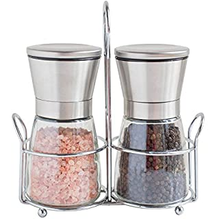 AUTOPkio Stainless Steel Salt Pepper Mill Grinder Set Seasoning Home Kitchen Tools Grinding for Cooking Meat Restaurants with Bracket Handle Stand