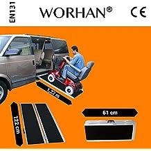 WORHAN® 1.22m Rampa Plegable Carga Silla de Ruedas Discapacitado Movilidad Aluminio Anodizado Modelo de Alta Adherencia 122cm R4J