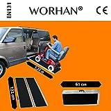 WORHAN® 1.22m Rampa Plegable Carga Silla de Ruedas Discapacitado Movilidad Aluminio Modelo de Alta Adherencia R4J
