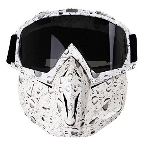 Kobwa - maschera per moto con occhiali, antinebbia, antivento, casco a viso aperto per motocross, sci, equitazione, sport all'aperto, bead white