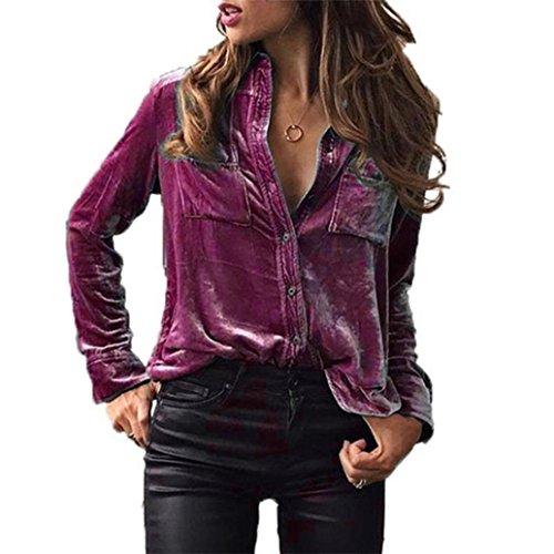 Purple Velvet Bluse (OVERDOSE Damen Tops, Solid Velvet Turn-Dowm Kragen Langarm T-Shirt Tops Bluse (S, A-Purple))