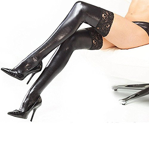 Sexy Ladies Black Wet Look Lycra Ankle Socks, Thigh High Stockings with Lace (Wet-look Spandex-stoff)