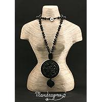 Collana nera di pietre swarovski con ciondolo Mosaico