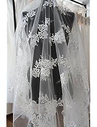 Aplique de encaje K5 140 para vestido de novia, con bordado floral y lentejuelas,