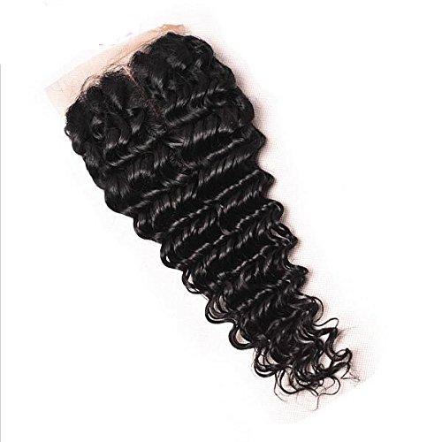 ohlees® Cheveux non traités brésiliens vierges Deep Wave Fermeture avec fermeture Noeuds Dentelle Suisse blanchi trois partie de cheveux humains Fermeture Noir naturel Lace Closure 4*4