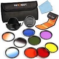 67mm Filtro Kit, K&F Concept 9pcs Full Color Filtro Set Viola Verde Rosso Arancione Blu Giallo + Filtri graduati Kit Orange Blue Grey+ Petal paraluce + Centro Pinch copriobiettivo + Panno di pulizia + Filtro Pouch per Canon 7D 700D 600D 70D 60D 650D 550D Nikon D7100 D80 D90 D7000 D5200 D3200 D5100 D3200 D5300 DSLR Cameras