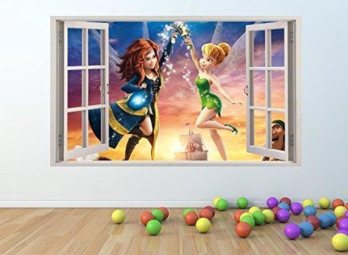 supreme vinyls Tinkerbell & Piraten Feen 3D Fenster Effekt Art Wand Aufkleber * Giant Größe * 100x 60cm-PW16