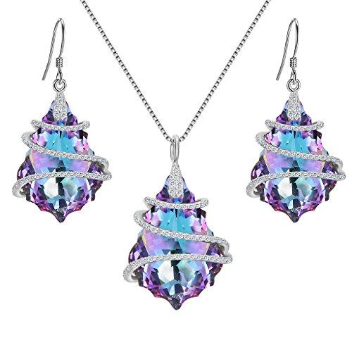 rling Silber CZ Baroque Form Halskette Ohrringe Set Vitrail hell lila geschmuckt mit Kristallen von Swarovski® ()