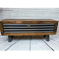 Rustic industrial tv stand/cabinet with drop down metal front industrial style 90 cm