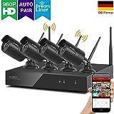 [Dream Liner WiFi relay] Xmarto 8canali 960P HD telecamera di sicurezza wireless sistema con 4x 960P 1.3megapixel indoor/outdoor WiFi telecamere (NVR Built-in router, auto-pair, 24,4m IR, no HDD)