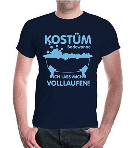 buXsbaum® T-Shirt Kostüm Badewanne-Ich lass mich volllaufen Navy-Skyblue