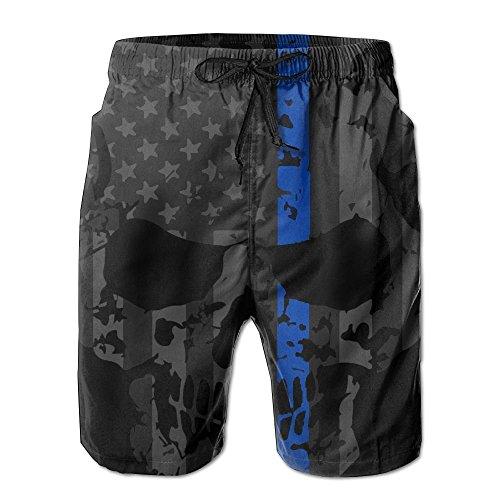 htweight Quick Dry Beach Shorts Thin Blue Skull Swim Trunks ()