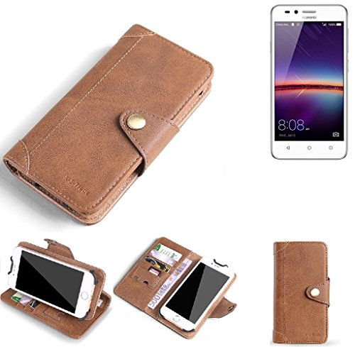 K-S-Trade Hülle für Huawei Y3 II Dual-SIM Schutz Hülle Tasche Handyhülle Schutzhülle Handytasche Wallet case Flipcase Cover Kunstleder Braun