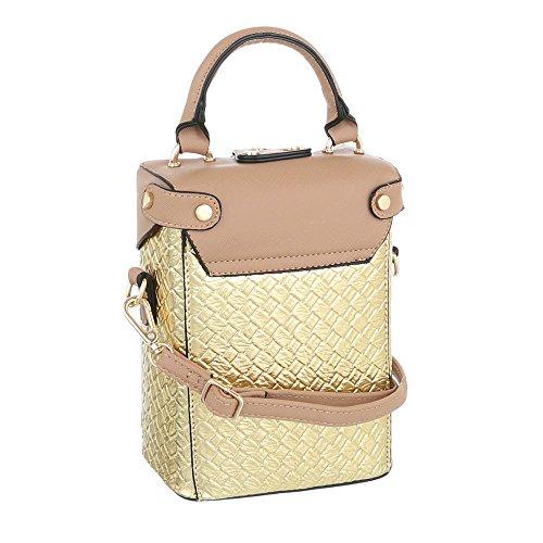 iTal-dEsiGn Damentasche Sehr Kleine Schultertasche Handtasche Kunstleder TA-A178 Gold Beige