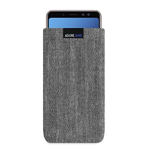 Adore June Business Tasche für Samsung Galaxy A8 2018 Handytasche aus charakteristischem Fischgrat Stoff - Grau/Schwarz | Schutztasche Zubehör mit Display Reinigungs-Effekt | Made in Europe