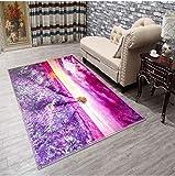 DAMENGXIANG 3D-Druck Lila Lavendel Weichen Teppich Wohnzimmer Couchtisch Schlafzimmer Mat Rutschfeste Fußmatte Home Decor Foot Pad 40×60 cm