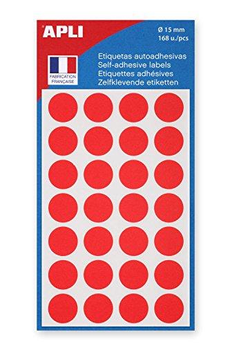 AGIPA Lot de 5 Sachets de 168 étiquettes Gommettes de signalisation Rondes 15 mm Rouge