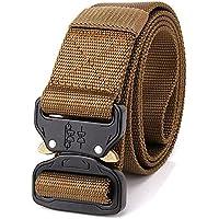 Muzuri - Cinturón táctico militar de 3,81 cm, cinturón de cintura resistente con hebilla de metal de liberación rápida, correa de cintura para operador EDC, Marrón