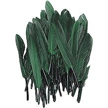 TOOGOO(R) Aprox. 50pcs 4.6 pulgadas tenido pluma de ganso --- deep green