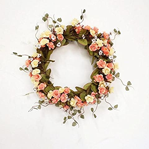 xiuxiandianju Rose Christmas Spring Front Door Wreaths 38cm/14.9 Inch Natural Looking Modern Decorative Artificial Silk Rose Flowers Garland For Home Kitchen Wedding Festive