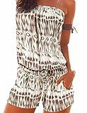 Emma Damen Strapless tr?gelos weg von der Schulter kurzer Overall Sexy Sommer Strand mit Druck Jumpsuits Rompers(KH,L)