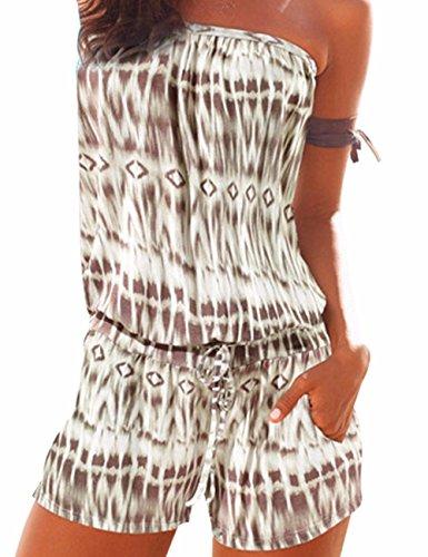 Emma Damen Strapless tr?gelos weg von der Schulter kurzer Overall Sexy Sommer Strand mit Druck Jumpsuits Rompers(KH,M)