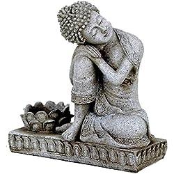Buda en reposo–con portavela–color gris, ca 17,5cm