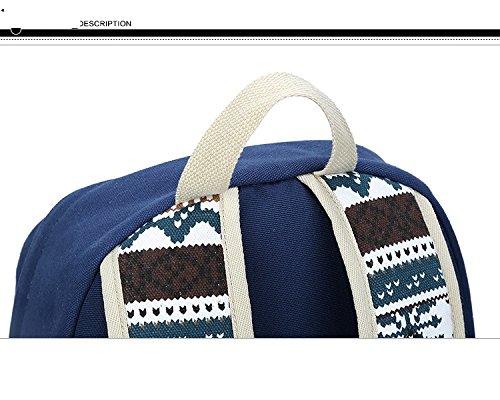 Fashion Mädchen Schulrucksack Damen Canvas Rucksack Teenager Baumwollstoff Schultasche Outdoor Freizeit Daypacks mit Schicker Lace Blau