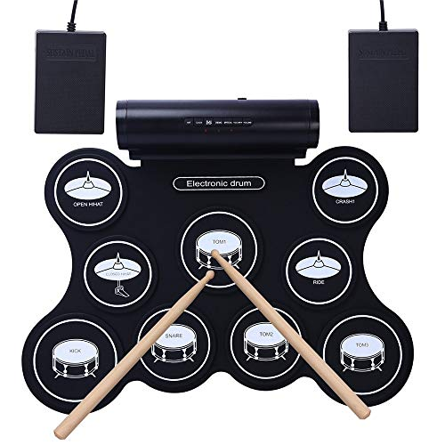 FANG1106 Elektronische Trommel Thick Silikon Perkussionsinstrument, tragbare Silikontrommel Trommel Jazz Trommel USB elektronische Trommel Tisch-Drum-Kit mit Velocity-Sensitive Drum Pads