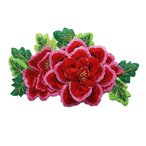1x 3D Grün Peony Floral-Applikation Eisen auf Spitze Stickerei Patches Spitze Motive Aufkleber Kleidung nähen Zubehör rose carmine -