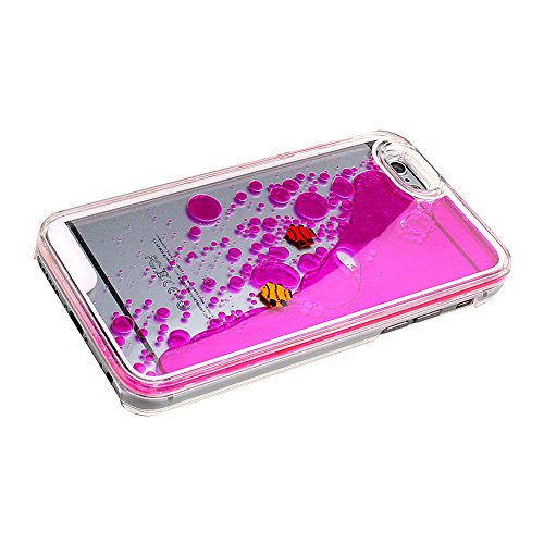 Cover iPhone 6 Plus Transparente,TOCASO Blu Crystal Clear Bling Sparkles Glitzer 3D Hard Plastic Case Apple iPhone 6s Plus 5.5 Stella Brillare Cassa Dura del Telefono Copertura Tacsa Custodia Caso Cov Transparent,Fish,Rose