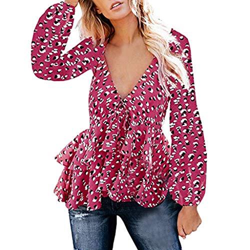 35 Knitterfrei Kleid Shirt (GOKOMO top rüschen v Ausschnitt Tshirt Damen Kleid Punkte Sommerkleider halbarm Mini Strandkleider Casual lose t-Shirt(Pink,Medium))