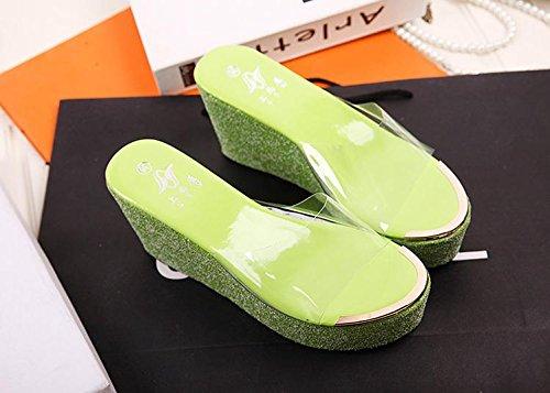 LvYuan Pantofole estive delle donne / Comfort Casual Fashion / tacco tallone / fondo spessa / piattaforma impermeabile / tacco alto / sandali Green