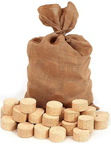 Floranica bricchetti di Legno compressa Sacchetto di Juta brichetta di conifere Rotonda/Senza Buchi Adatta per stufe maiolica caminetti forni