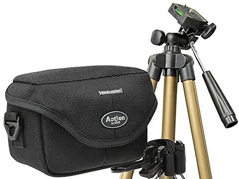 Progallio Foto-Tasche Kameratasche ACTION BLACK QUER im Set mit ultra leichtem Reise-Stativ
